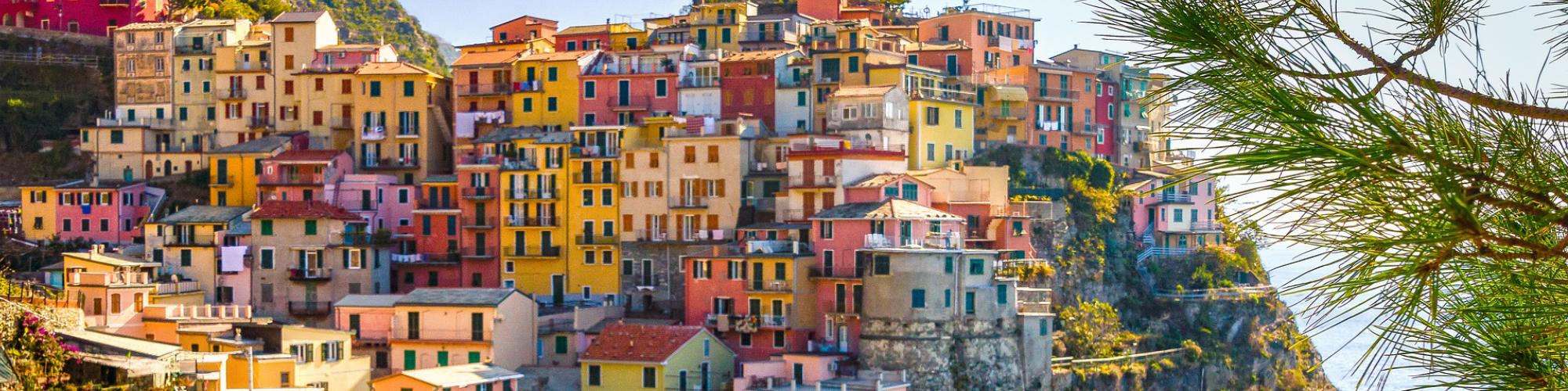 Homes on hill, Italian coast