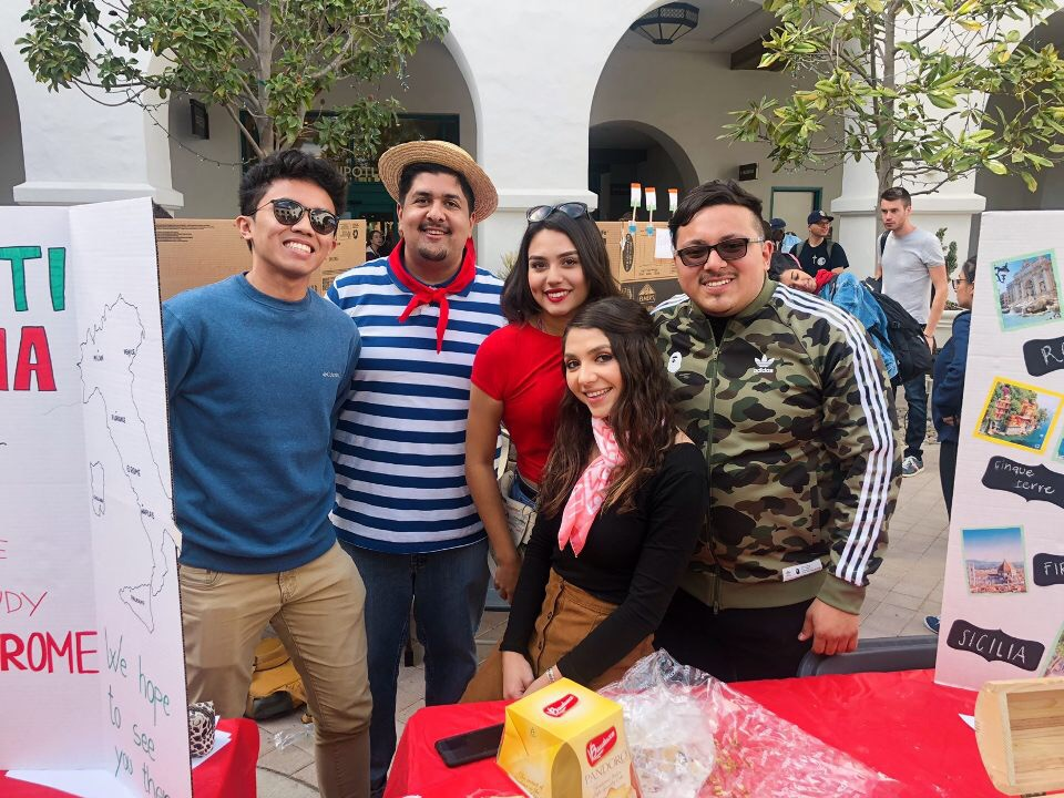 students at booth