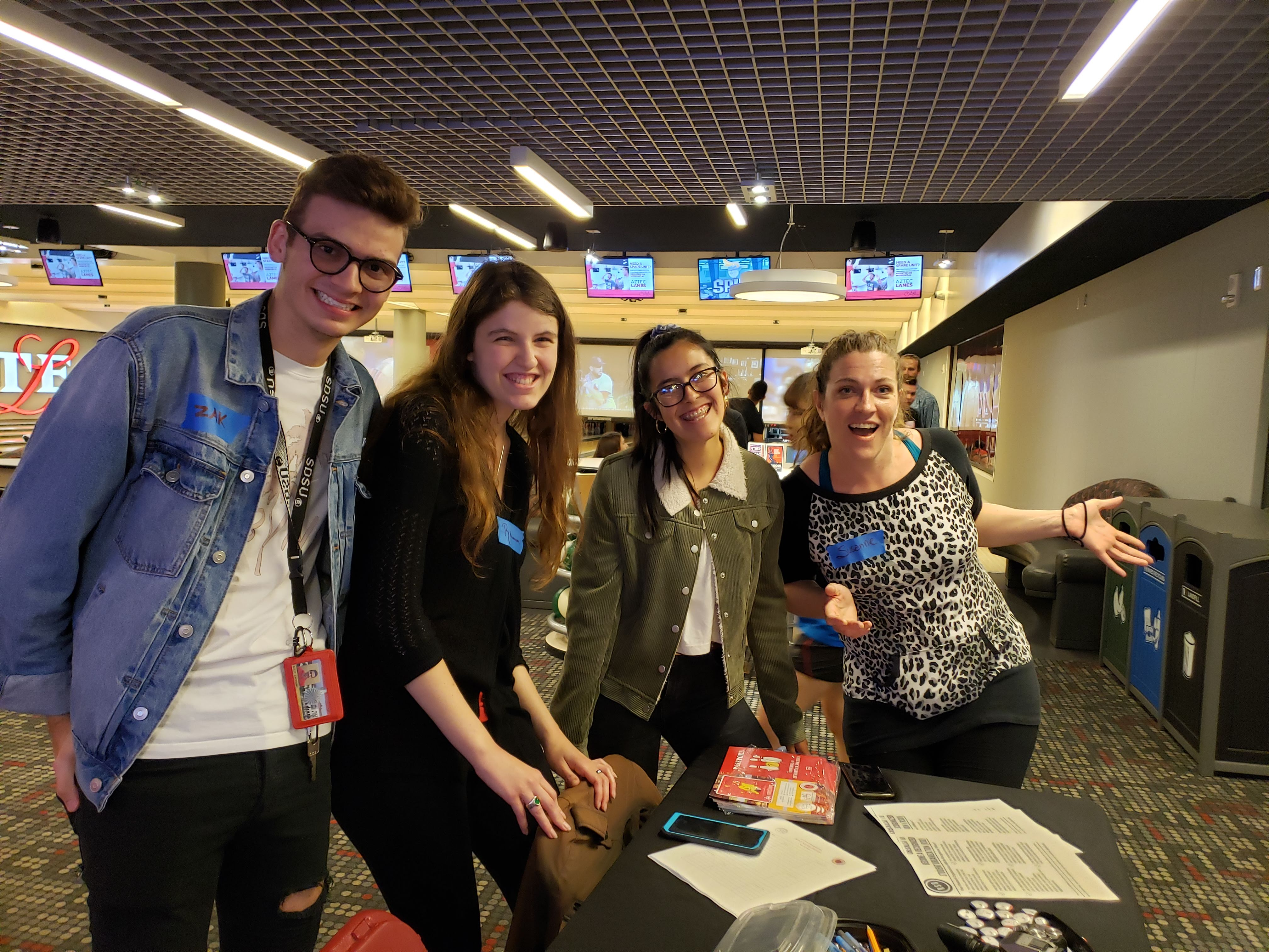 French students at bowling alley